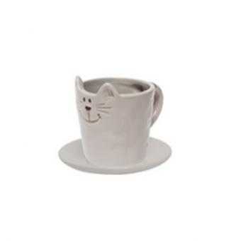 Чашка с блюдцем Серый кот (107385)