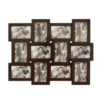 Мультирамка коричневая на 12 фотографий (Венге-12)