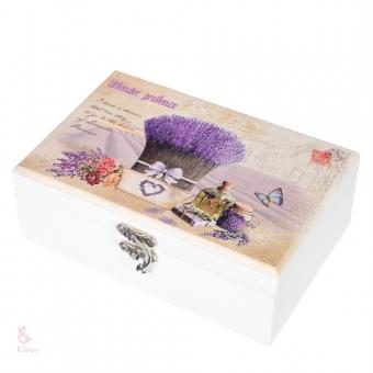 Шкатулка деревянная Лаванда в корзине (122TP)