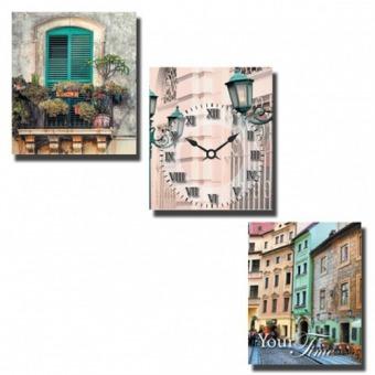 Часы на холсте Старый город (06-309)