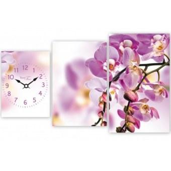 Часы на холсте Орхидея