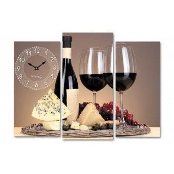 Часы на холсте Красное вино (06-502)