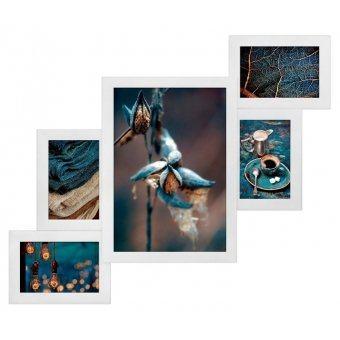 Белая мультирамка на 5 фотографий (Л-БЛ-5)