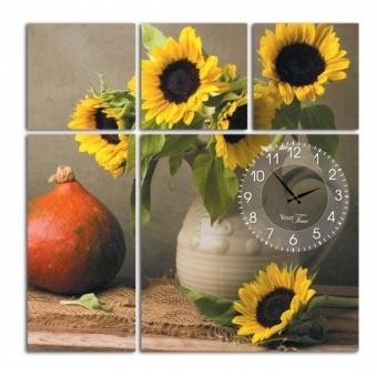 Часы на холсте Цветы солнца (06-402)
