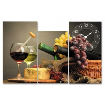 Часы на холсте Вино (06-503)
